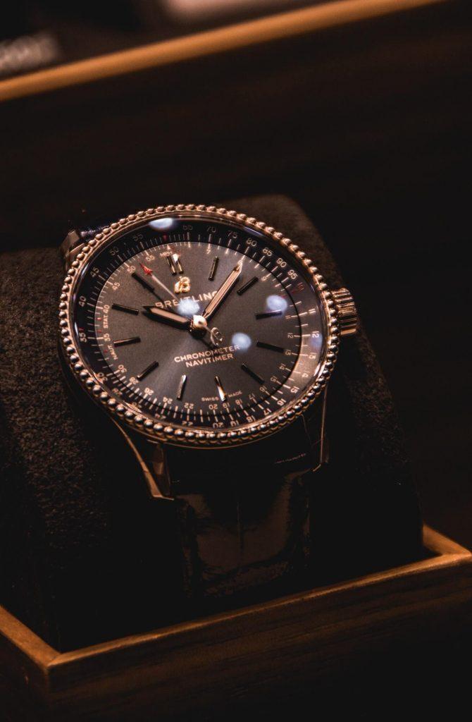 Close-up of Breitling Navitimer watch