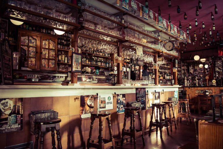 Stocked bar with stool seating
