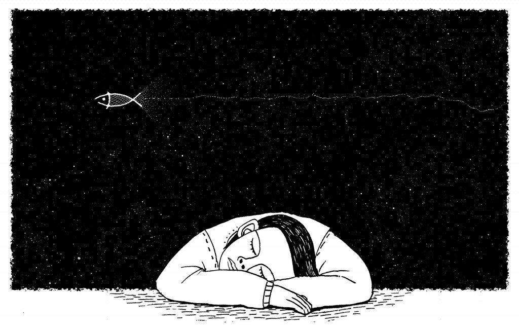 Illustration of sleeping man
