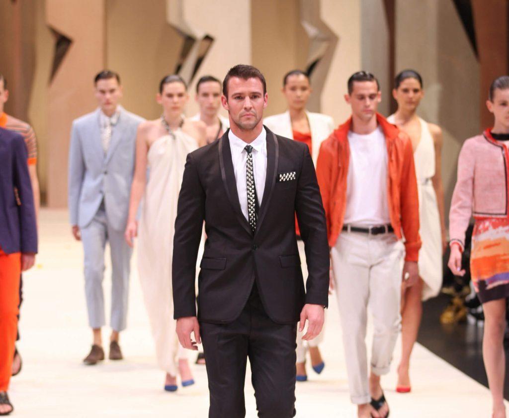 Fashion show models on catwalk