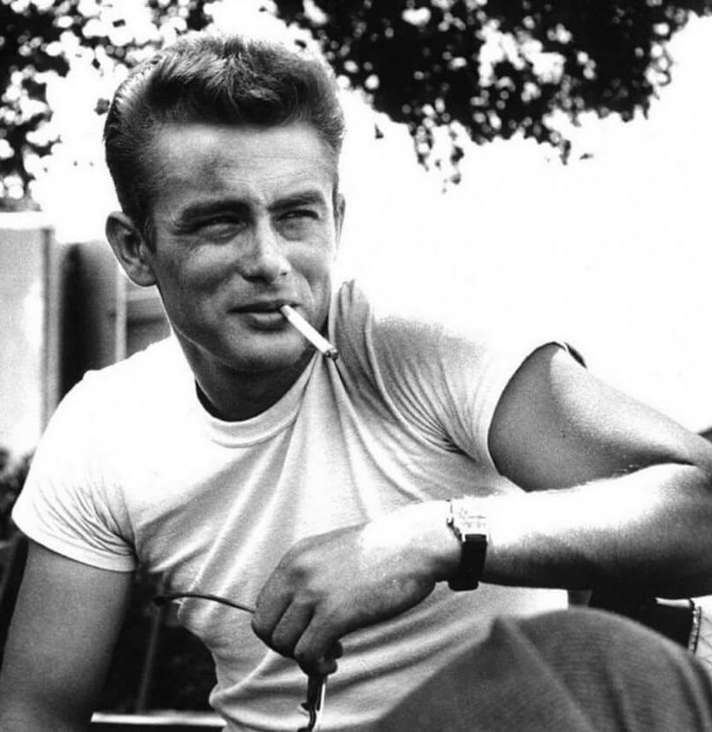 James Dean wearing white t-shirt and watch