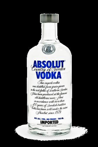 Absolut vodka bottle against white background