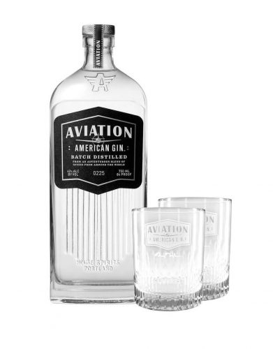 Aviation American Gin with two glasses
