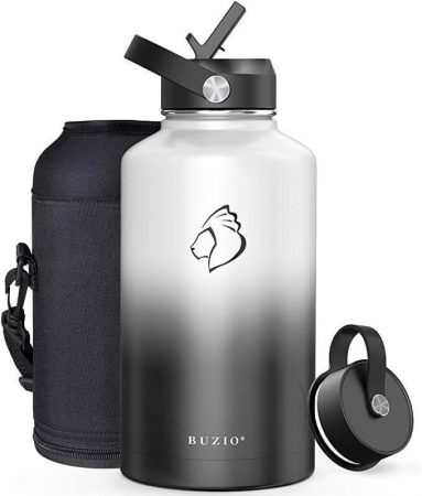 Buzio 64 ounce water bottle in black and white
