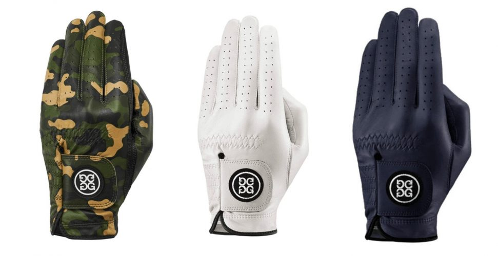 Selection of three G/FORE golf gloves in camo, white and black