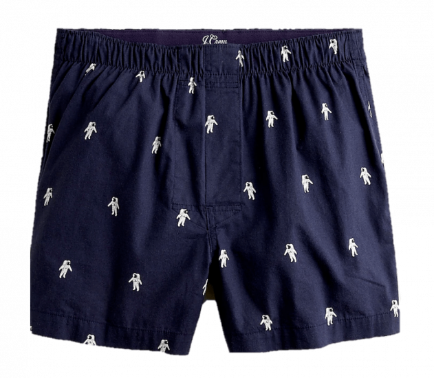 J Crew printed boxers with astronauts in navy blue