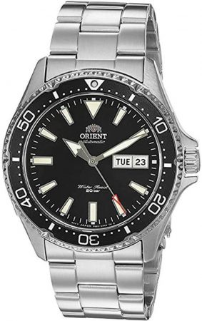 Orient Kamasu watch with stainless steel bracelet and black face