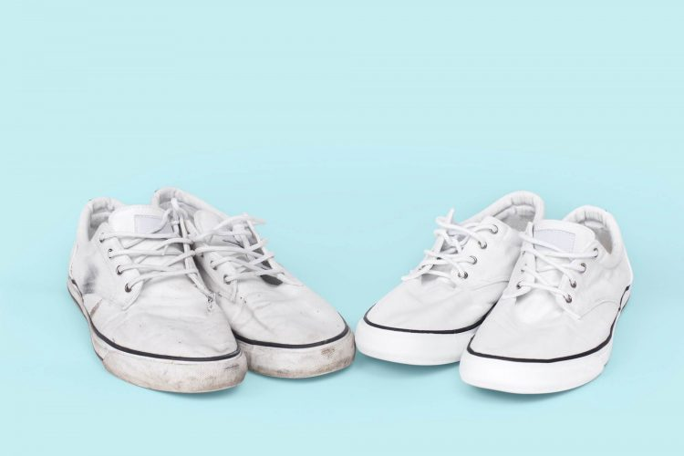 Dirty white shoes and clean white shoes