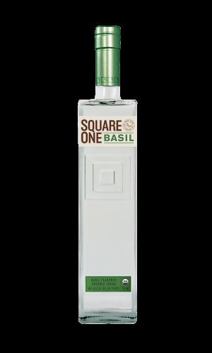 Square One Basil vodka bottle against white background