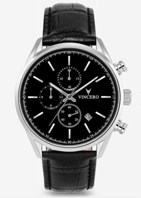 Vincero Chrono S watch with black leather bracelet