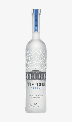 Belvedere vodka bottle against white background