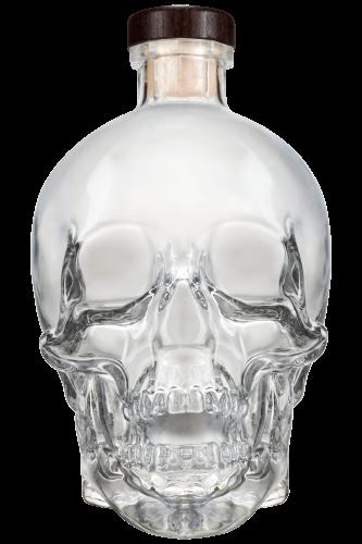Crystal Skull vodka bottle against white background