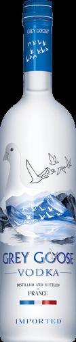 Grey Goose vodka bottle against white background