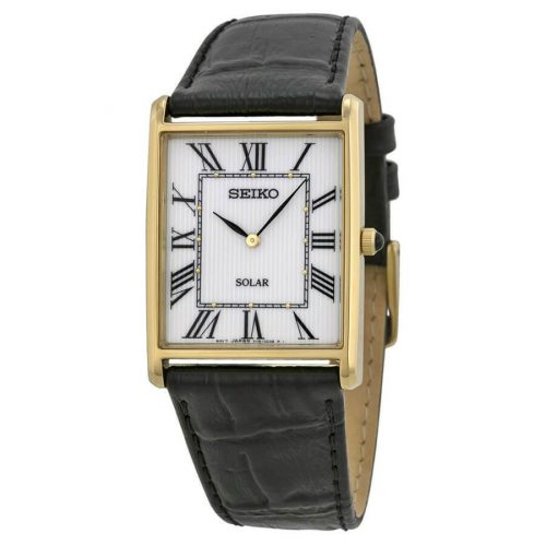 Seiko SUP880 watch with leather band and square face